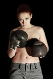 Girl in boxing glove Royalty Free Stock Photo