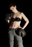 Girl in boxing glove Stock Photos