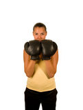 Girl in boxing gloves. Girl in black boxing gloves Stock Photo