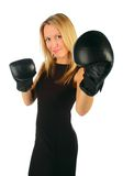 Girl with boxing gloves Royalty Free Stock Photography