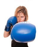 Girl in a boxing gloves Stock Images