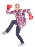 Girl in boxing gloves Royalty Free Stock Photography