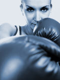 Girl in boxing gloves. (toned in blue Stock Photography
