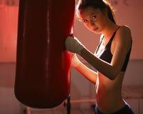 Girl in Boxing gloves Stock Image