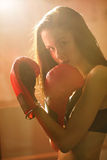 Girl in Boxing gloves Royalty Free Stock Images