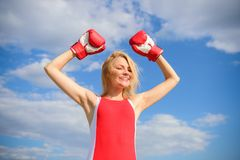 Girl boxing gloves symbol struggle for female rights and liberties. Feminism promotion. Fight for female rights. Girl. Leader promoting feminism. Woman boxing stock images