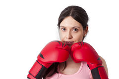Girl with boxing gloves Royalty Free Stock Images