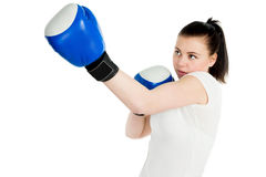 Girl with boxing gloves Stock Images