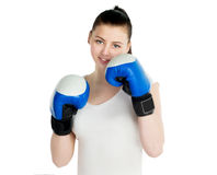 Girl with boxing gloves Stock Photos