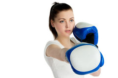 Girl with boxing gloves Stock Photo