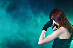 The girl in boxing pose Royalty Free Stock Photos