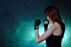 The girl in boxing pose Royalty Free Stock Image