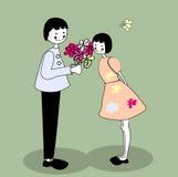 Girl and boy. Cartoon illustration Stock Photos