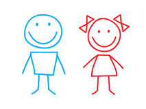 Girl and Boy. Simple Illustation of Girl and Boy Stock Photography