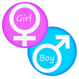 Girl and boy. Gender symbols for a girl and a boy Royalty Free Stock Photography
