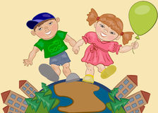 Girl and Boy. Smiling boy and girl holding hands and walking Royalty Free Stock Image