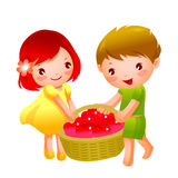Girl and Boy. Is holding a basket Stock Photography