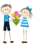 Girl with boy. And flowers Royalty Free Stock Photos