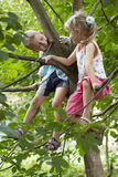 Girl and boy. Children sitting on a branch Royalty Free Stock Images