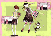 Girl and boy Stock Images