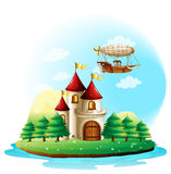 A girl and a boy in an aircraft above the castle Royalty Free Stock Photo