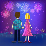 Girl and boy back view illustration. Girl and boy back view and fireworks illustration Royalty Free Stock Photography