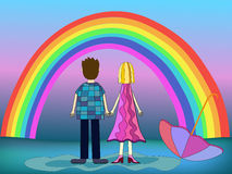 Girl and boy back view illustration Stock Photos