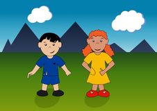 Girl and boy on the background of mountains. A girl and a boy on summer vacation travel to the mountains the background of mountains Vector Illustration