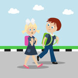 Girl and boy with backpacks or briefcases are going to school. Satisfied children Stock Photo
