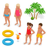 Girl and boy in a bathing suit, palm tree, life preserver, Orange juice. Summertime concept. Flat 3d vector isometric Stock Photography