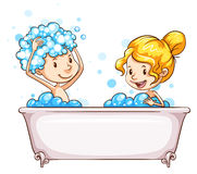 A girl and a boy at the bathtub Royalty Free Stock Photos