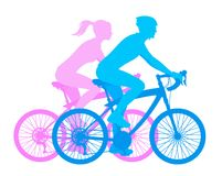 Girl and boy on a bicycle Stock Photos
