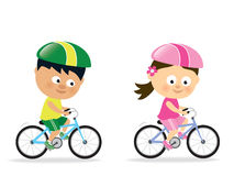 Girl and boy biking. Isolated illustration of cute kids riding bicycles Stock Photo