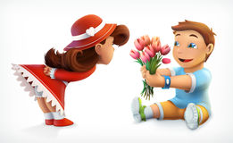 Girl and boy with bouquet of flowers. Girl and boy. Greetings, bouquet of flowers. Vector illustration Royalty Free Stock Photo