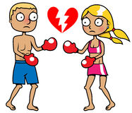 Girl and boy boxing, break up concept. Cartoon vector illustration of a girl and a boy boxing Stock Photography