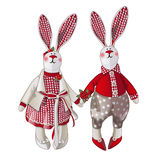 Girl and boy bunny doll in vintage style Stock Photos