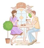 Girl  and boy at cafe Royalty Free Stock Photos