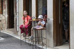Girl and boy in a cafe stock image