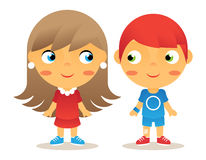 Girl and Boy Cartoon Character Children Icons. Girl Boy Cartoon Character Children Icons Isolated Vector Illustrator stock illustration
