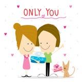 Girl and boy cartoon cute happy birthday vector Stock Photography
