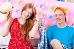 Girl and boy celebrating vacation Stock Images