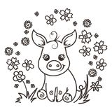 Cute cartoon baby pigs in love. It is a girl, it is a boy. Cute cartoon baby pigs on a flower background. Vector illustration, coloring page Royalty Free Stock Photography