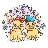 Cute cartoon golden baby pigs in love. It is a girl, it is a boy. Cute cartoon golden baby pigs on a flower background. Vector illustration Royalty Free Stock Photos