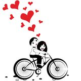 Girl boy cycling with big red heart for valentine day vector Stock Photos