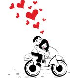 Girl boy cycling with big red heart for valentine day vector Stock Photography