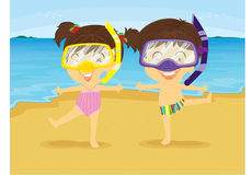 Girl and Boy Dancing on Beach. Illustration of Girl and Boy Dancing on Beach on white background Stock Photo