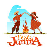 Girl and boy dancing at Brazilian Festa Junina Party. Vector illustration.  Royalty Free Stock Images