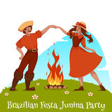 Girl and boy dancing at Brazilian Festa Junina Party. Vector illustration Stock Photo