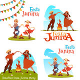 Girl and boy dancing at Brazilian Festa Junina Party. Vector illustration.  Royalty Free Stock Photo