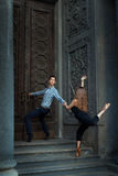 Girl and boy dancing in dance history. Royalty Free Stock Photography